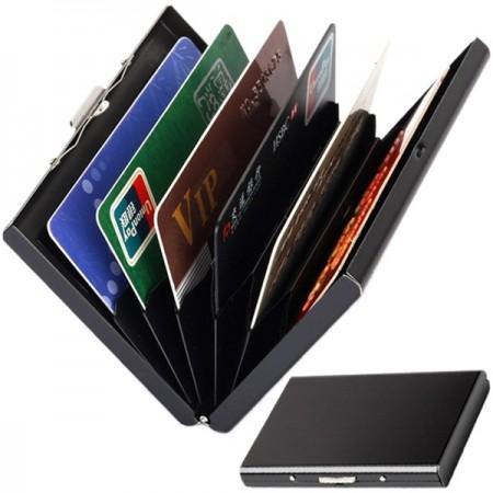 Metallinen korttilompakko RFID-suojauksella 6 korttitaskulla