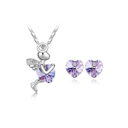 Angel & Heart Necklace & Earring | Kristallikorusetti
