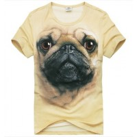 Playera Caballero Diseño 3D Animal  Pug