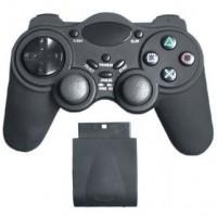 Trådlös handkontroll som passar till PS2. Slipp alla trassliga sladdar och kör trådlöst istället!