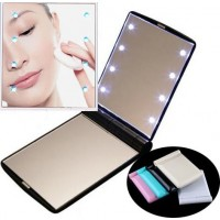 Foldable double mirror  with 8 LED light