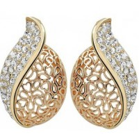 Hollow acacia leaf pendant  rhinestone earrings
