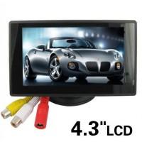 """4.3"""" LCD-näyttö autoon peruutuskameran kaveriksi. Kahden AV-sisääntulon ansiosta voit liittää näyttöön kameran ja DVD-soittimen. Ei enää tylsiä automatkoja!"""