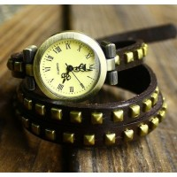 Square rivets bracelet X watch  Roman number