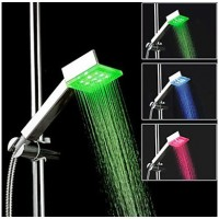 Color changing LED handheld shower head -  Square  shape