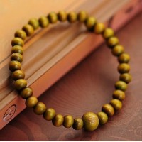 "Chinese Style Green Sandalwood ""Buddha""Bracelet 7mm diameter"