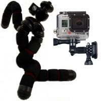Taivuteltava kolmijalka GoPro action –kameroille. Jalkaa pystyy taivuttelemaan monipuolisesti toivottuun asentoon näin kameran saa kuvaamaan juuri sinne, minne haluaa!