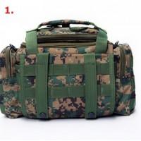 Multifunktionell väska för fiske, vandring och camping. Väskan har många fickor och du kan bära väskan I din hand, som en midjeväska eller med axelremmen.