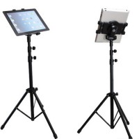 """Tukeva iPad / tabletin kolmijalka, joka soveltuu kaikille tableteille 7"""" tuumasta 11"""" tuumaan asti. Kasattuna kolmijalan pituus on 66cm ja avattuna se yltää jopa 146cm korkeuteen asti."""