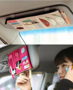2x Car visor pocket - Beige