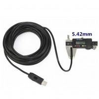 Vedenkestävä USB-endoskooppi PC-käyttöön 10 m kaapelilla. Kaapelin halkaisija on 5,5 mm. 720p tarkkuudella kuvaat esim. LVI-kohteet' putket, koneet ja laitteet.