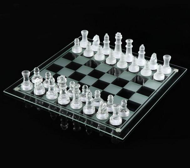 Schackspel i glas 35cm