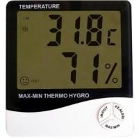 Tämä kätevä lämpömittari näyttää sekä sisä-, että ulkolämpötilan asteen desimaalin tarkkuudella.