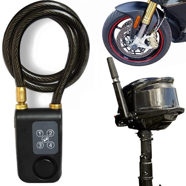 Wire-lås med alarm till MC och cykel