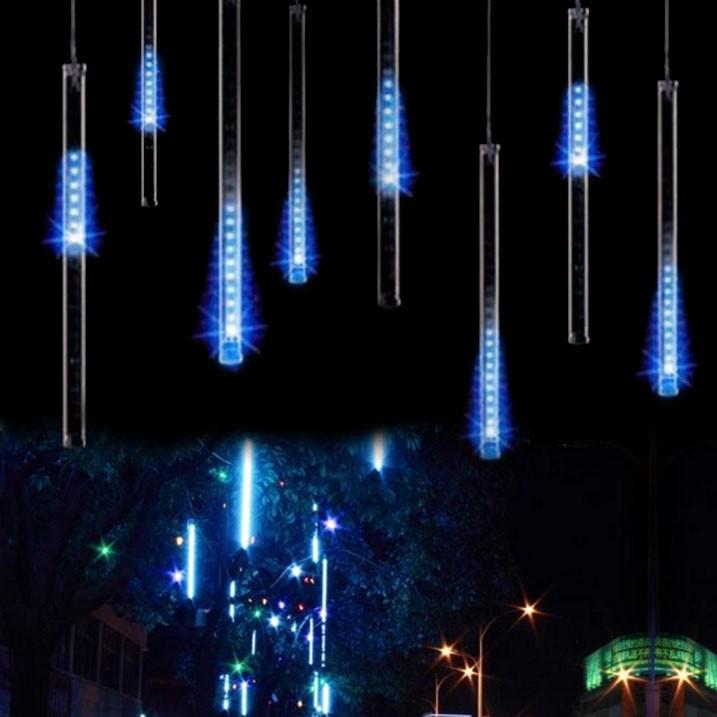 LED-ljusstavar blåa rinnande ljus 8 x 30cm