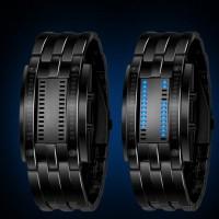 Sinkkiseoksesta valmistettu LED-rannekello näyttää ajan neljän LED-valotaulun avulla tunteina sekä minuutteina