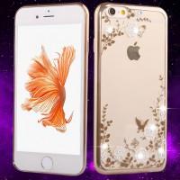 Kauniisti kuvioilla ja pienillä synteettisillä timanteilla koristeltu silikoninen suojakuori iPhone 6s -älypuhelimelle - Suojaa tehokkaasti naarmuilta ja kolhuilta, mutta myös tekee puhelimesta entistäkin näyttävämmän näköisen kapistuksen.