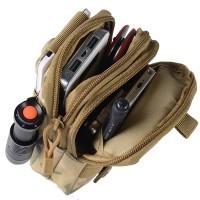 Taktinen vyölaukku on kompakti retkeilijän lisävaruste. Säilytä kätevästi vyöllä eri lokeroissa puhelin, rahat, avaimet, musiikkisoitin, kynä ja minitaskulamppu.