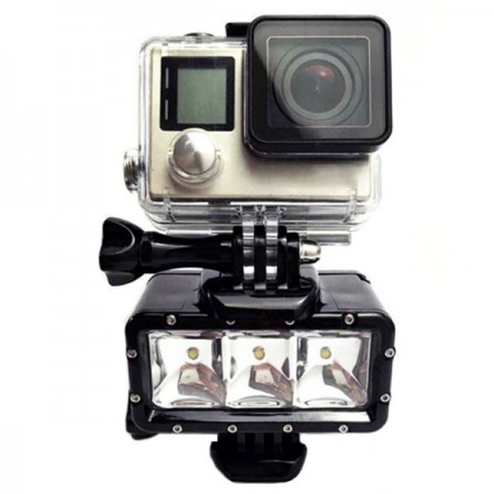 Action-kameran vedenkestävä lisävalo 300lm & 2 akkua