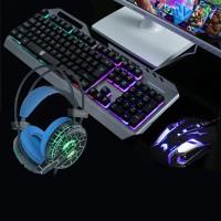 Laadukas kaiken tarvittavan sisältävä setti tietokonepelaajalle. Metallirunkoinen näppäimistö, hiiri ja kuulokkeet.