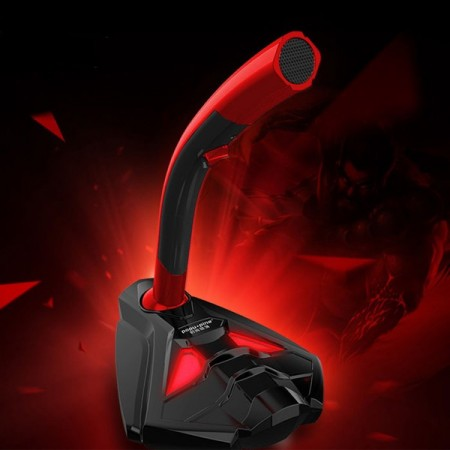 Pöytämikrofoni multimedia-käyttöön - 3.5mm audioliitin, Musta/Punainen