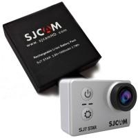 Vara-akku SJCAM SJ7 STAR action-kameralle. Vaikka akkukesto onkin reilun tunnin luokkaa, on silti hyvä omistaa toinen, jollei kolmaskin akku pidempiä kuvauskeikkoja varten.