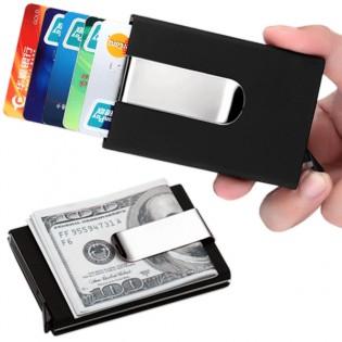 Metallinen korttilompakko seteliklipsillä & RFID-suojauksella - Musta