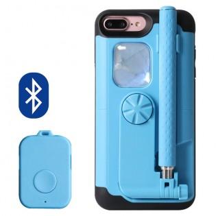 iPhone 6 / 6s / 7 / Plus 3-in-1 selfie-keppi/teline/suojakuori, muovi - Punainen, iPhone 7
