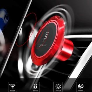 360° magneettinen puhelinteline - Punainen