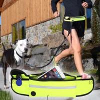 Koiran ulkoilutusvyö joustavan hihnan kanssa mahdollistaa lenkkeilyn yhdessä lemmikkisi kanssa ilman erillisiä kelataluttimia tai monimutkaisia virityksiä.