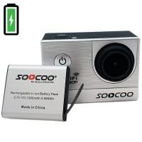 Vara-akku SOOCOO C20 WiFi action-kameralle. Vaikka kamerassa kestää akku jatkuvassa käytössä 90 minuutin ajan, olisi se todella ärsyttävää, jos akku loppuisi kesken kuvausten.