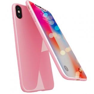 iPhone X Glossy -suojakuori - Vaaleanpunainen