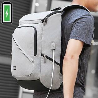 MARK RYDEN reppu USB-portilla & läppäritaskulla - Vaaleanharmaa