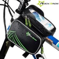 """Tarvitsetko pyöräillessäsi puhelimen GPS:ää, häiritseekö kaverit vähän väliä viestien muodossa? Tässä pyörälaukussa on läpinäkyvä muovitasku 6.2"""" älypuhelimelle, jonka kautta voit puuhata puhelimesi kanssa normaalisti."""