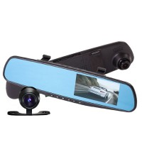 """Näyttönä toimiva taustapeilisetti sisältää peruutuskameran ja autokameran. Sisäänrakennettu eteen kuvaava 1080p-autokamera sekä iso 4.3"""" LCD-näyttö."""