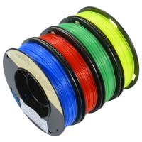 Läpinäkyvää PLA:ta neljässä eri värissä! Yhdessä setissä on kilon verran raaka-ainetta: 250g punaista, 250g sinistä, 250g keltaista ja 250g vihreää. Bonuksena keltainen läpinäkyvä on myös fluoresoivaa!
