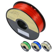 Genomskinlig PLA i 1 kilos rullar och i fyra olika färger! Finns i rött, blått, grönt och klar.