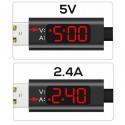 Laddkabel volt & ampere-mätare TOPK USB