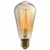 """Retrolight Edison on upea vanhanajan hehkulamppu. Lämpimän valon tuottavat 18kpl """"zigzagina"""" meneviä hiilihehkulankoja. Kookas lamppu sopii isompiin valaisimiin."""