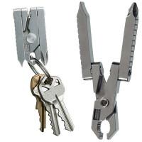 Monitoimityökalu – avaimenperä sisältää kuusi työkalua, avaintesi jatkona: pihdit, risti- ja talttapääruuvarit, katkaisupihdit, kuorintatyökalu sekä (pelti)leikkuri