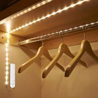 LED-valonauha liiketunnistimella on kätevä valaisin, jos et halua säätää johtojen vetämisen kanssa, sillä se toimii paristoilla. Valonauha on helppo asentaa!