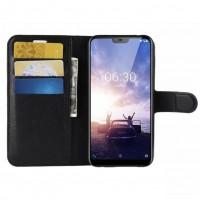 Kätevä Nokia 6.1 puhelimelle tehty suojakotelo kolmella korttipaikalla ja setelitaskulla. Suojaa näyttöä naarmuilta ja toimii minilompakkona.