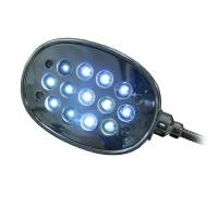 Taitettavalla varrella varustettu kirkas valaisin esimerkiksi läppäriin kytkettäväksi. Ei rasita silmiä. Tekniset tiedot: 13 LEDiä. Kylmä sävy.