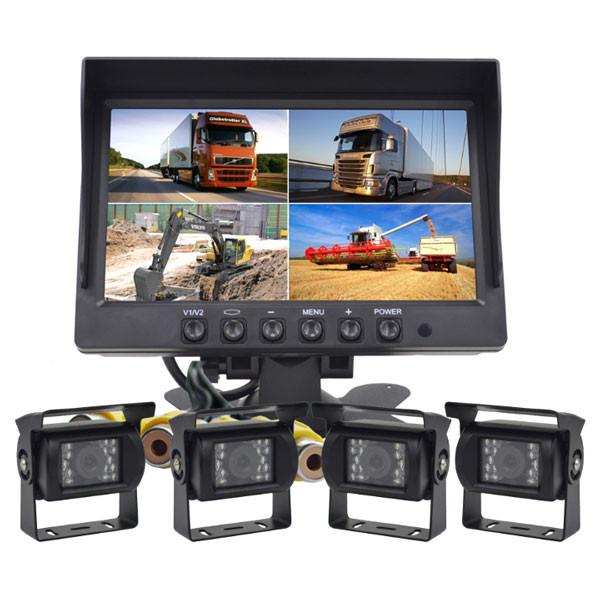 4x backkameror och bildskärm för stora fordon