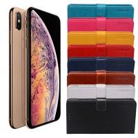 Halpa flip cover -suojakuori Apple iPhone XS Max -mallin älypuhelimelle, joka suojaa näyttöä naarmuilta ja luuria kolhuilta. 8 erilaista värivaihtoehtoa.
