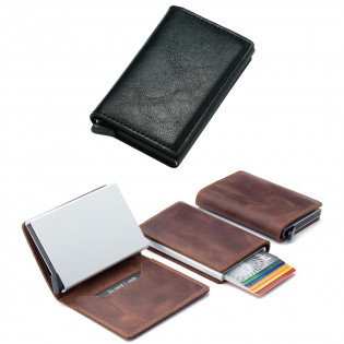 RFID-suojattu pop-up-korttilompakko - Musta, Keinonahka