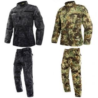 Wolfonroad kamoflagekläder byxa + jacka - XL, Vihreä python