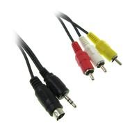 USB-kontakt till RCA-kontakter på 1,5 m lång sammansatt video / ljud-kabel.