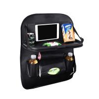 Auton istuimiin kiinnitettävä säilytystasku sisältää taskujen ja lokeroiden lisäksi kätevän taitettavan pöydän. Säilytystasku on valmistettu tyylikkäästä keinonahasta.