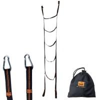 Smidig och hållbar repstege till hängmatta. Eller varför inte till träkojan? Med karabinkrokar samt förvaringspåse.